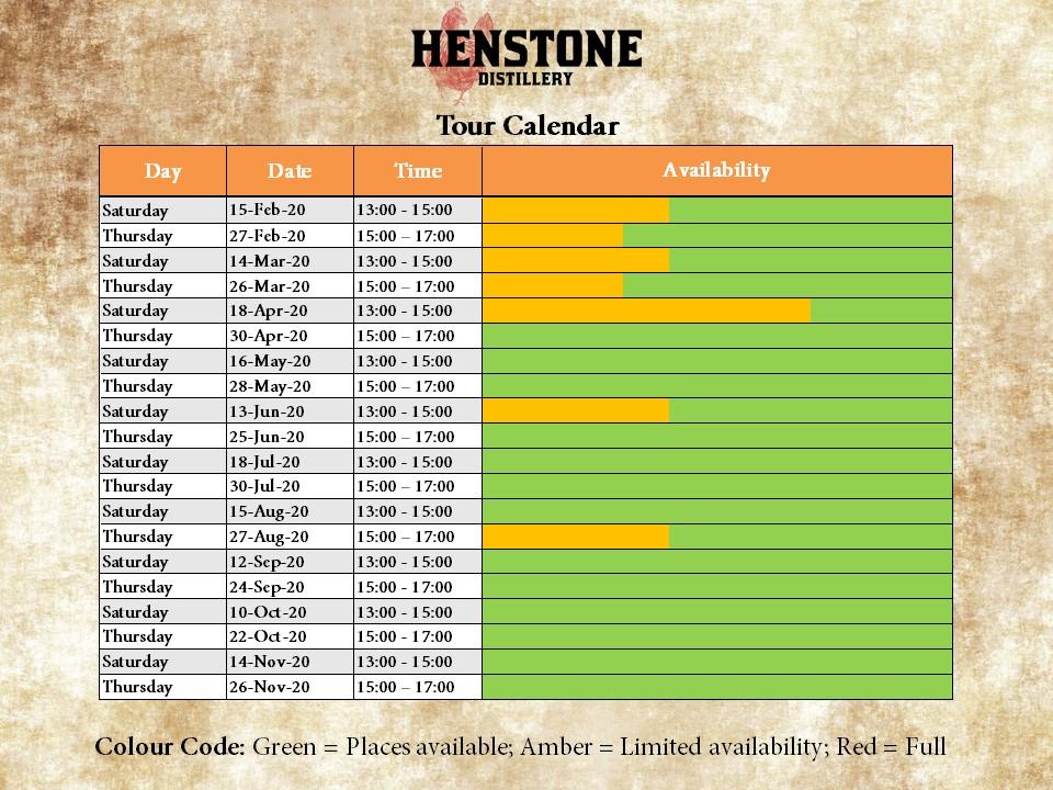Distillery tour calendar