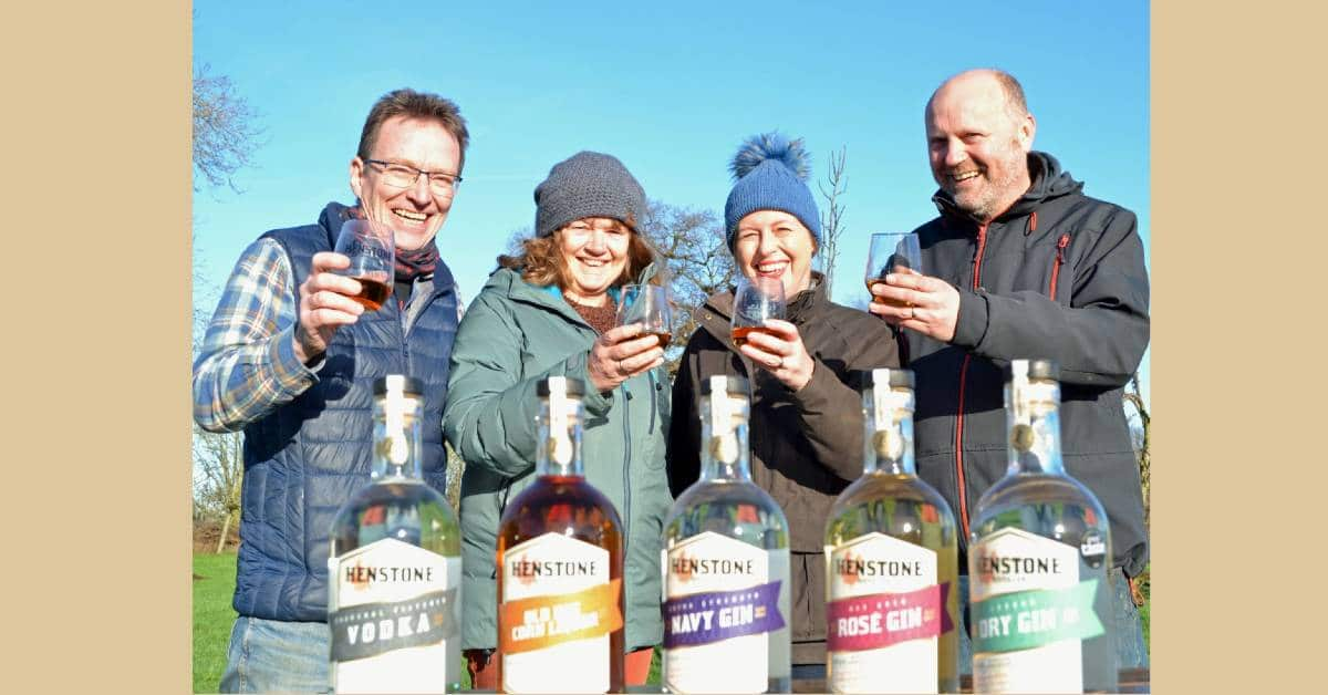Four founders of Henstone Distillery enjoying the sun!