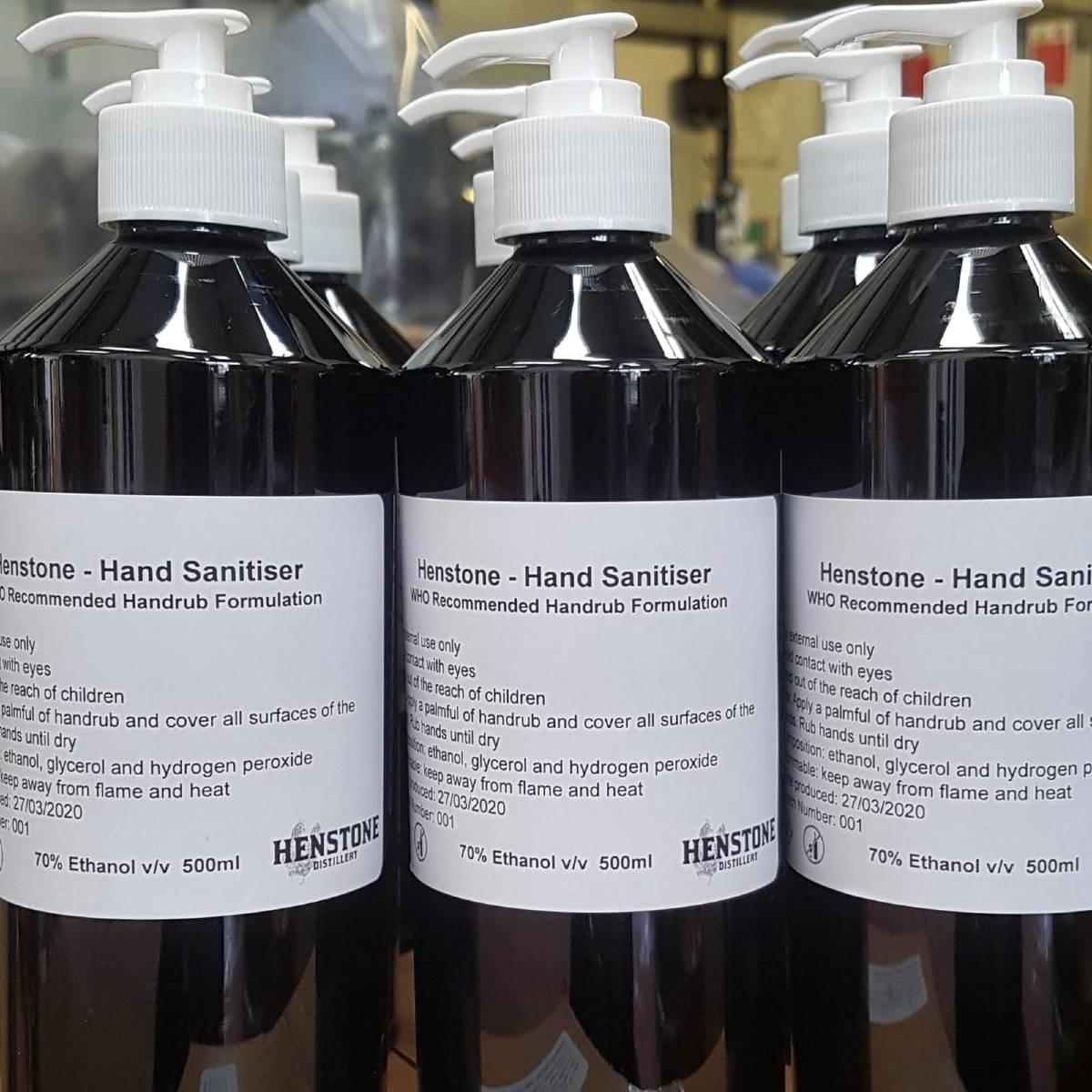 Hand sanitiser bottles ready for distribution