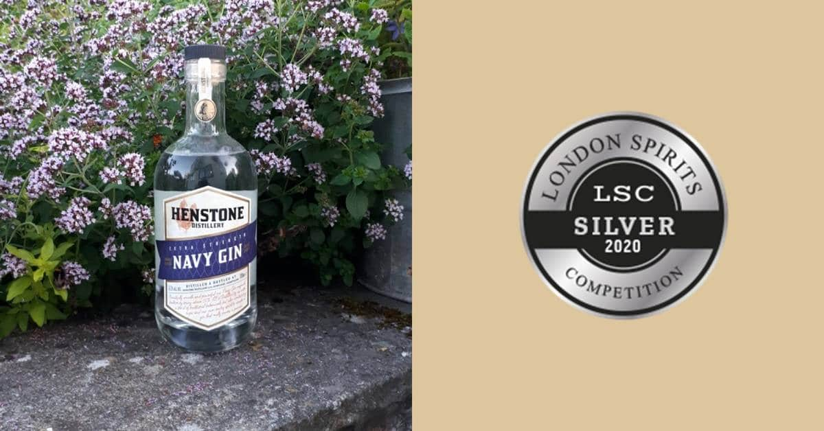Henstone Navy Gin Bottle beside London Spirits Competition Silver Medal