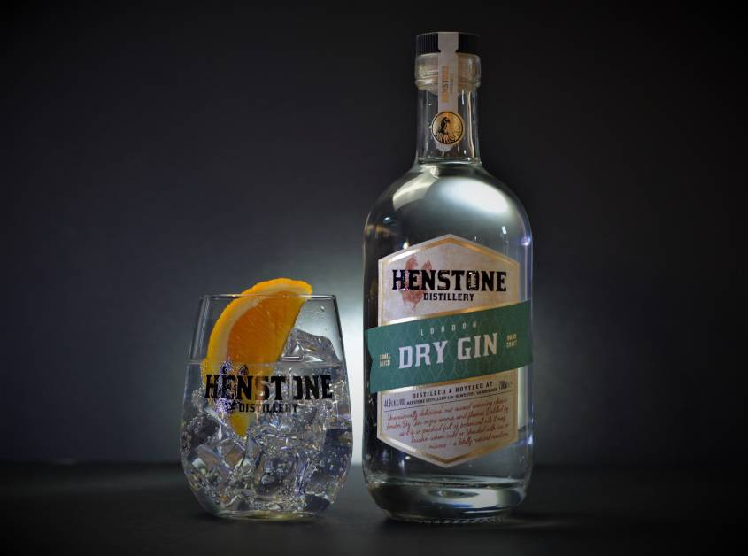 Henstone London Dry Gin and Glass