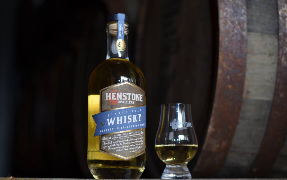 Henstone whisky bottle and glass