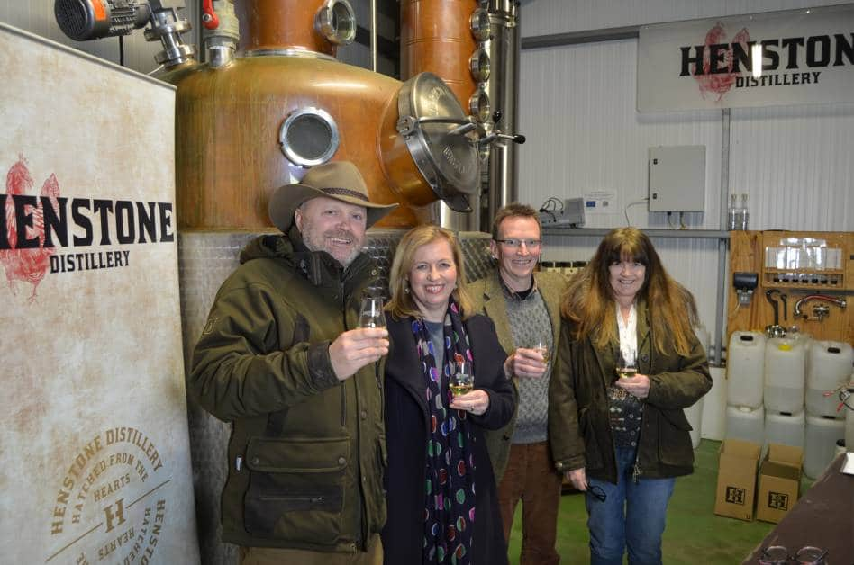 The Henstone team enjoying a dram